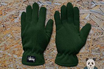 Теплые перчатки Stussy зеленого цвета (люкс копия)