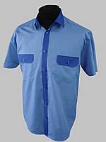 Голубая комбинированная рубашка с коротким рукавом, фото 1