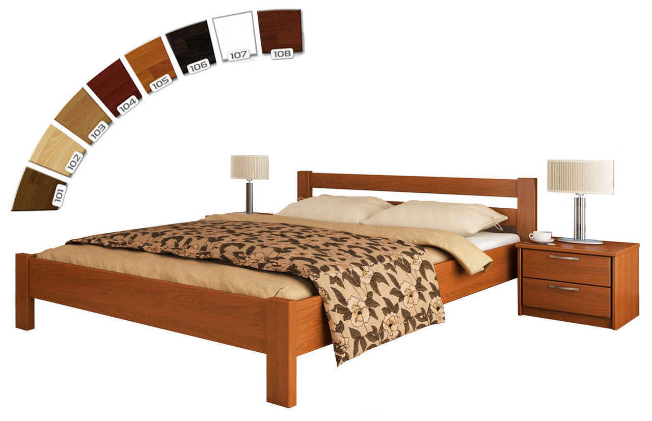 Ліжко односпальне в спальню з натуральної деревини буку Рената Естелла   Бук щит, 80х190, 80х190