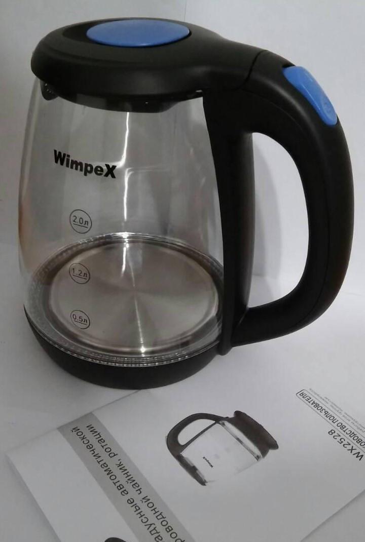 Электрический Стеклянный Чайник 2 л.Wimpex WX-2528 am CG16 PR4