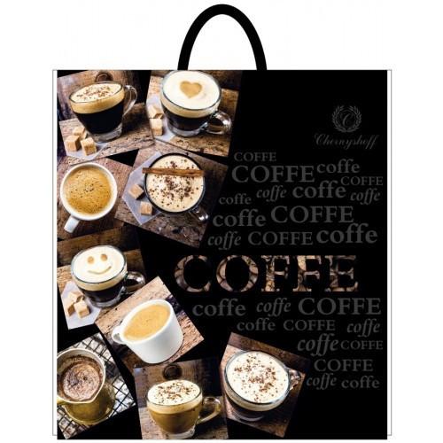 Полиэтиленовый пакет с пластиковой ручкой (сумка) ''Чашки кофе'' 400*420, 10 шт