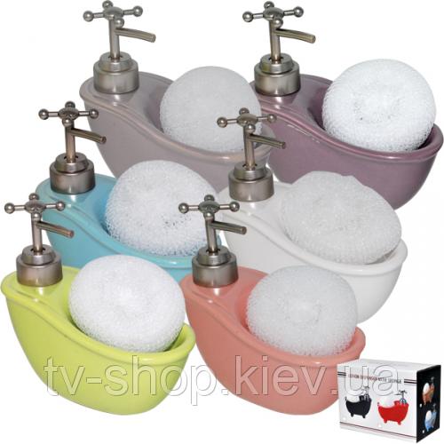 Диспенсер для мыла с губкой Ванночка