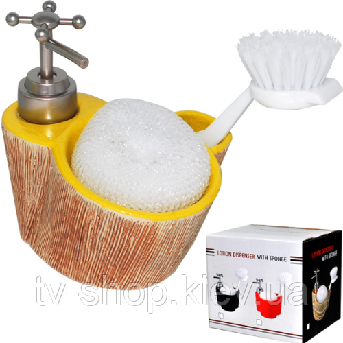 Диспенсер для мыла с губкой и щеткой Кора
