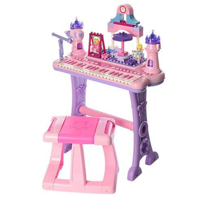 Синтезатор 88037 со стульчиком розовый