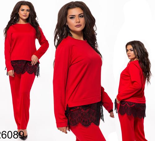 Трикотажный брючный костюм с кружевом (красный) 826089