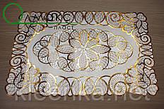 Салфетка ажурная виниловая ажурная золото на стол,  тумбочку, полочку