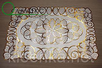 Салфетка ажурная виниловая ажурная золото на стол,  тумбочку, полочку, фото 2