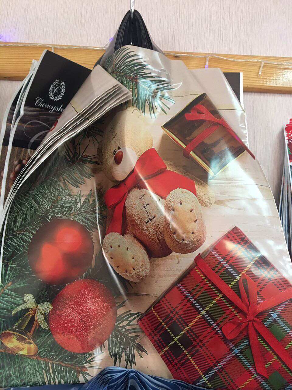 Новогодний пакет с петлевой ручкой 40*42 , 10 шт