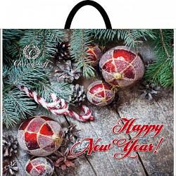 Новогодний пакет с пластиковой ручкой (собранный) 37*34 ,10 шт