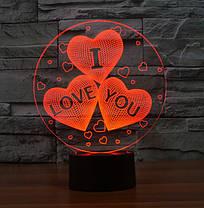 3D Світильник I LOVE YOU, фото 2