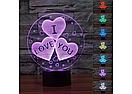 3D Светильник I LOVE YOU, фото 2