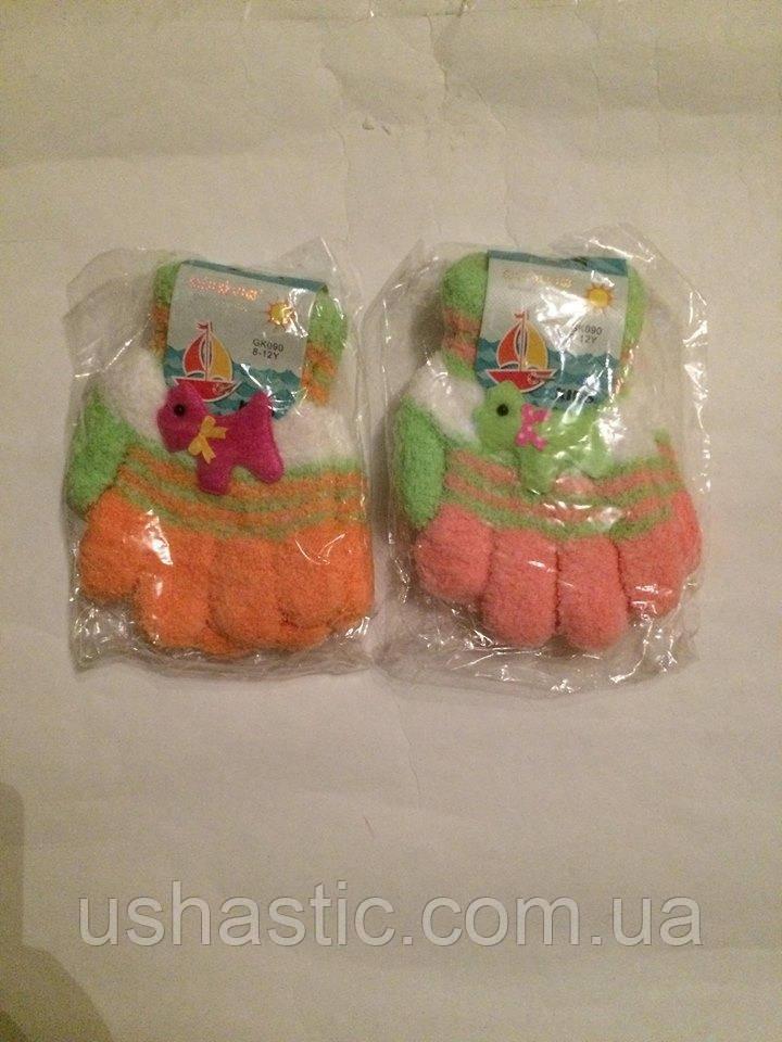 Перчатки махровые для девочки на 5-6 лет (Венгрия)