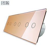 Сенсорный проходной выключатель Livolo 2-2-2 с дистанционным управлением, цвет золотой (VL-C706SR-13), фото 1