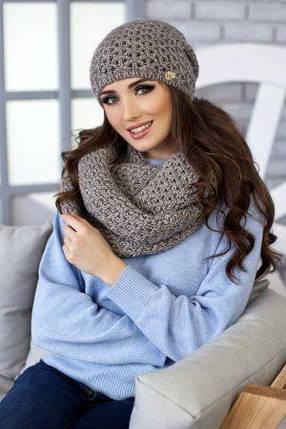 Комплект Денвер (шапка + шарф-снуд) 4337-8 темный кофе, фото 2