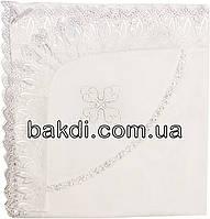 Детская крыжма уголок 80x90 батист белый крестильная нарядная с вышивкой и кружевом для крещения новорожденных мальчика/девочки М-964