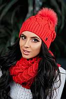 Женская  зимняя шапка с помпоном