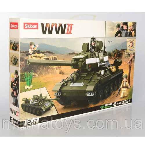 Конструктор SLUBAN M38-B0689 Военный танк 2 в 1 фигурки, 686 деталей