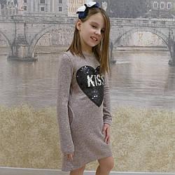 """Платье для девочек """"Сердце"""", ангора, размеры 34-42"""