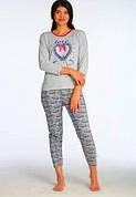 К.S.M пижама женская на байке серая Турция разные рисунки