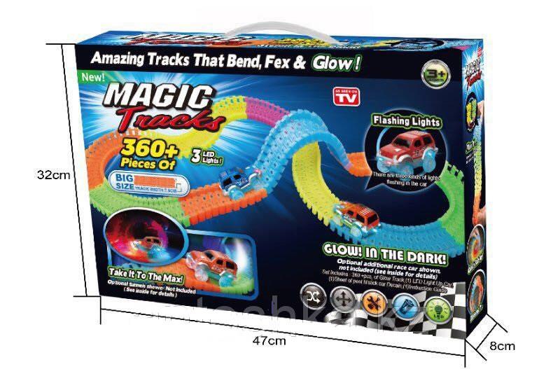 Magic Tracks 360+ деталей гнущий светящийся трек, Меджик трек гоночная трасса, конструктор - подарок для детей
