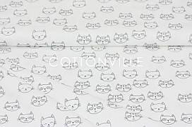 Сатин-твил Котики на белом