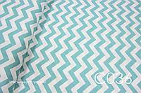 Ткань сатин Зигзаг бирюзовый 26 мм, фото 1