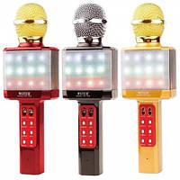 Караоке микрофон WSTER WS-1828 c LED подсветкой (4 Голоса/USB/Bluetooth)