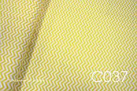Ткань сатин Зигзаг желтый 7 мм ОСТАТОК 0,7 м, фото 1