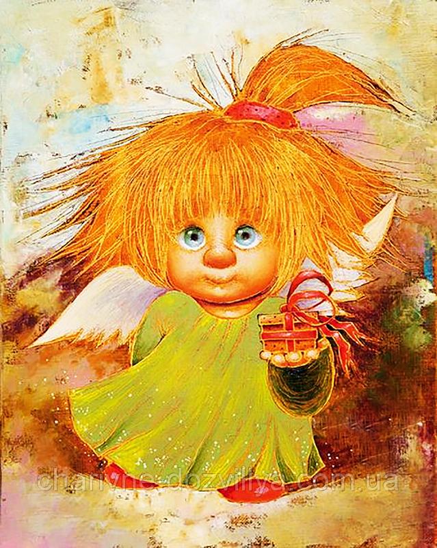 """Набор алмазной вышивки (мозаики) """"Рыжий Ангел. Подарок для тебя"""". Художник Chuvilyaeva Galina"""