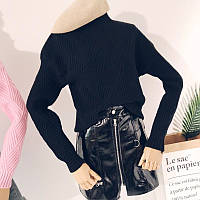 Женский теплый вязаный свитер с геометрическим узором черный c9157eed82148