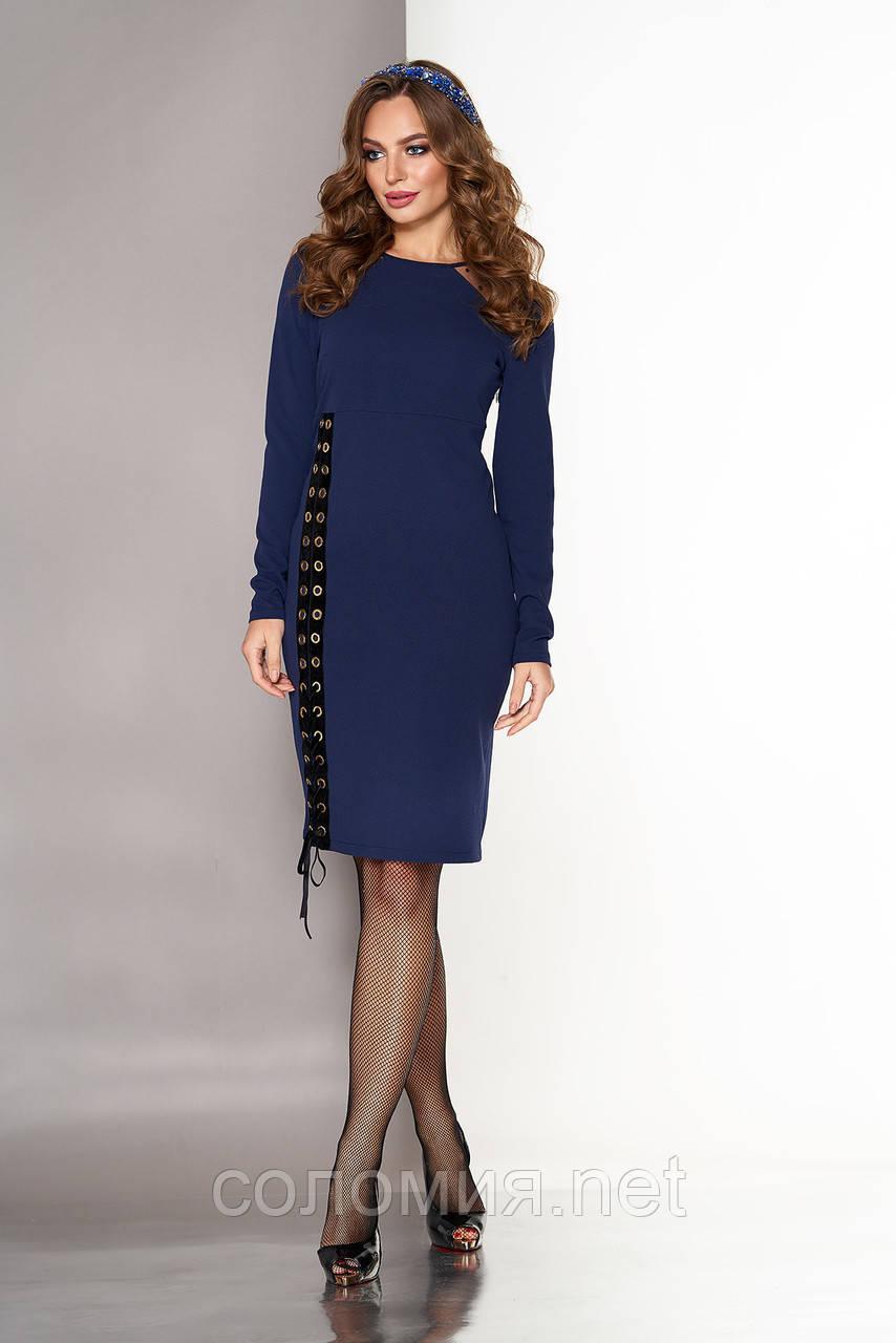 Стильное Платье  из креп-дайвинга со шнуровкой 44-54р