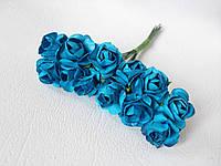 Декоративные бумажные цветочки, розы 2 см 12 шт/уп. на ножке ярко-голубого  цвета, фото 1
