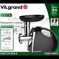 Мясорубка електрична 2000 Вт+насадка под томат, ручка, реверс ViLgrand V206-НMG_black