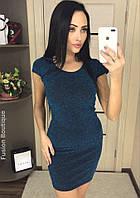 Женское мини- платье из люрекса с коротким рукавом, фото 1