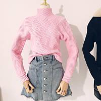 Женский теплый вязаный свитер с геометрическим узором розовый, фото 1