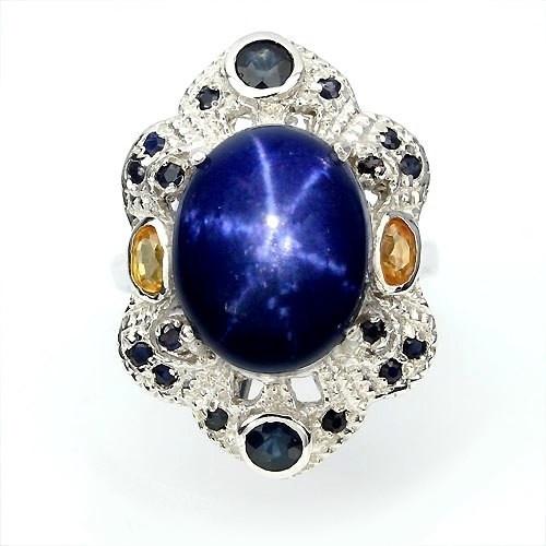 Кольцо с натуральным Звездчатым Сапфиром и цветными Сапфирами