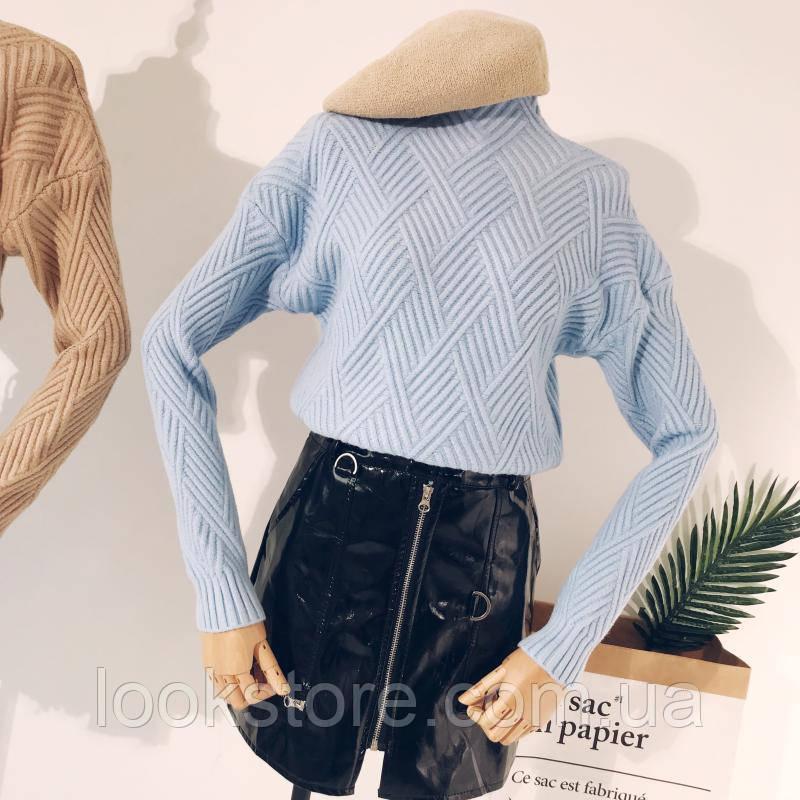 Женский теплый вязаный свитер с геометрическим узором голубой
