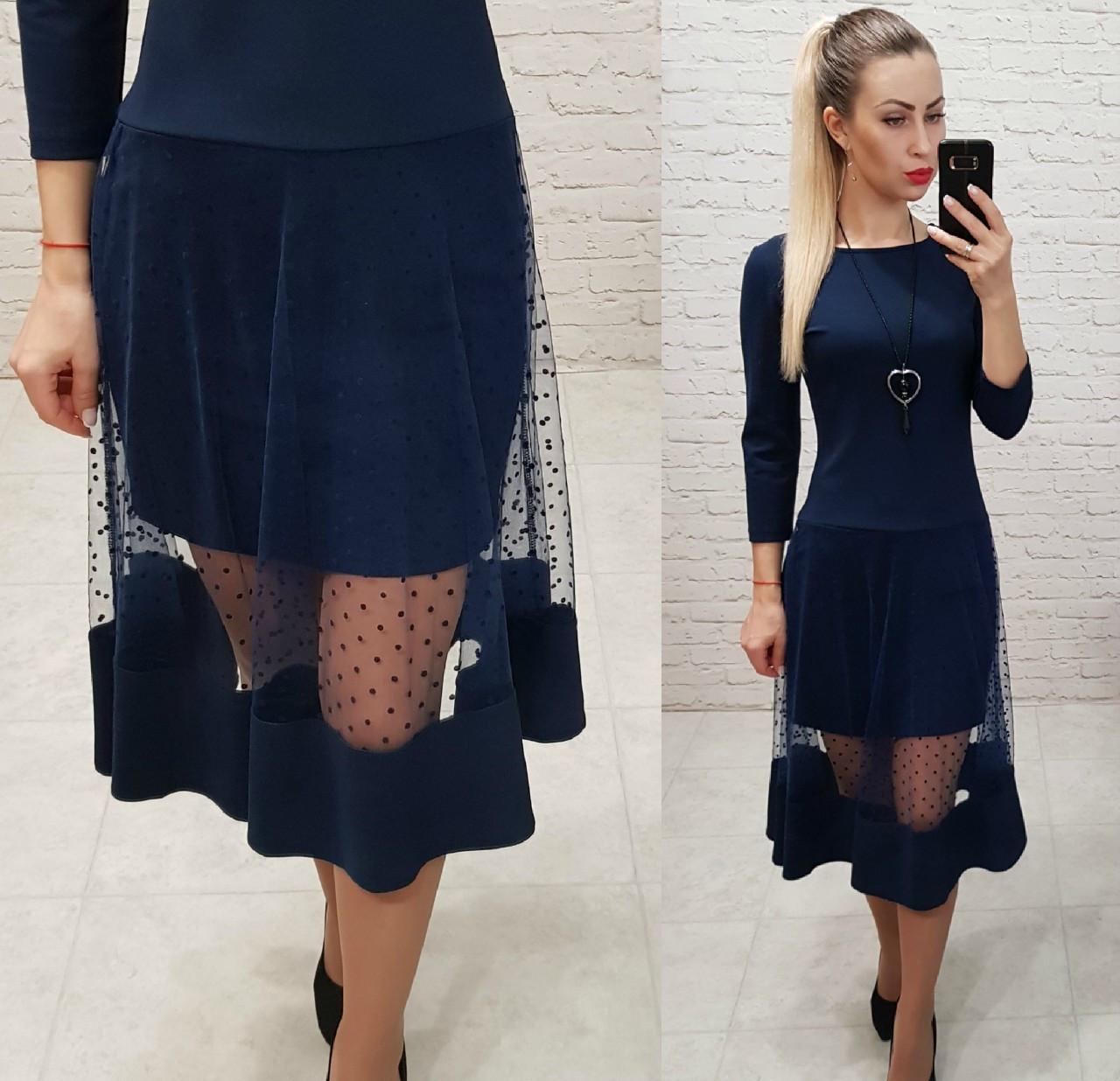 Платье креп дайвинг +сетка. арт 146 темно-синий