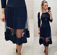 Платье креп дайвинг +сетка. арт 146 темно-синий, фото 1
