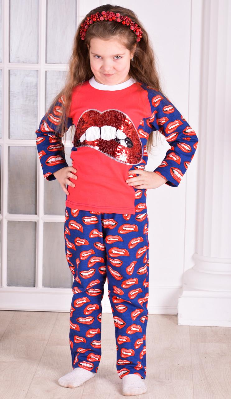 """Пижама  детская для девочки теплая розовая  """"lips"""" от 6 до 10 лет(116;122;128;134;140)"""