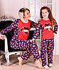 """Пижама  детская для девочки теплая розовая  """"lips"""" от 6 до 10 лет(116;122;128;134;140), фото 3"""