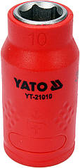 """Головка торцевая шестигранная диэлектрическая YATO 3/8"""" М10 х 45/28 мм VDE до 1000 В YT-21010"""