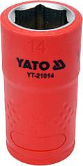 """Головка торцевая шестигранная диэлектрическая YATO 3/8"""" М14 х 45/28 мм VDE до 1000 В YT-21014"""