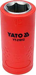 """Головка торцевая шестигранная диэлектрическая YATO 3/8"""" М12 х 45/28 мм VDE до 1000 В YT-21012"""