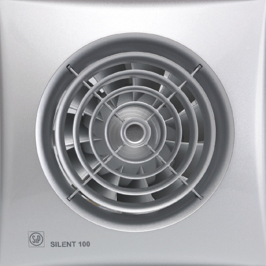 Вентилятор бытовой осевой S&P SILENT-100 CZ  SILVER *230V50*