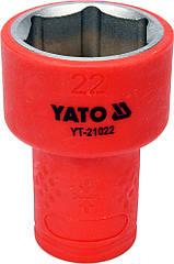 """Головка торцевая шестигранная диэлектрическая YATO 3/8"""" М22 х 47/30 мм VDE до 1000 В YT-21022"""
