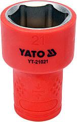 """Головка торцевая шестигранная диэлектрическая YATO 3/8"""" М21 х 47/30 мм VDE до 1000 В YT-21021"""
