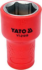 """Головка торцевая шестигранная диэлектрическая YATO 3/8"""" М19 х 47/30 мм VDE до 1000 В YT-21019"""