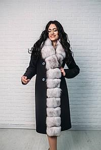 Женское пальто Vshubke классика приталенное 44 синие с вуалевым песцом (719)