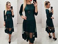 Платье креп дайвинг +сетка. арт 146 темно-зеленый / бутылочный